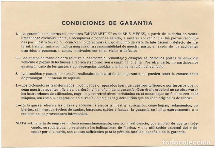 Coches y Motocicletas: CARTA DE GARANTÍA CICLOMOTOR MOBYLETTE FECHADA EN 1971 - GARATE, ANITUA & CIA - EIBAR (GUIPÚZCOA) - Foto 2 - 197265647