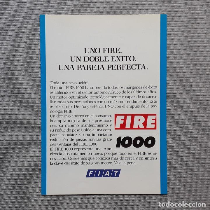 FIAT UNO FIRE CUADRÍPTICO (Coches y Motocicletas Antiguas y Clásicas - Catálogos, Publicidad y Libros de mecánica)