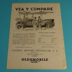 Coches y Motocicletas: PÁGINA PUBLICITARIA AUTOMÓVIL OLDSMOBILE. FABRICADO POR GENERAL MOTORS. CONCESIONARIO. PRECIOS. Lote 198205386