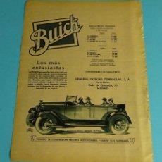 Coches y Motocicletas: PÁGINA PUBLICITARIA AUTOMÓVIL BUICK. FABRICADO POR GENERAL MOTORS. CONCESIONARIO. PRECIOS. Lote 198205427