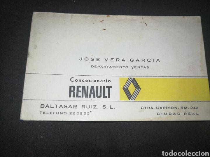 RENAULT,CIUDAD REAL, ANTIGUA TARJETA DE VISITA (Coches y Motocicletas Antiguas y Clásicas - Catálogos, Publicidad y Libros de mecánica)