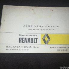 Coches y Motocicletas: RENAULT,CIUDAD REAL, ANTIGUA TARJETA DE VISITA. Lote 198256550