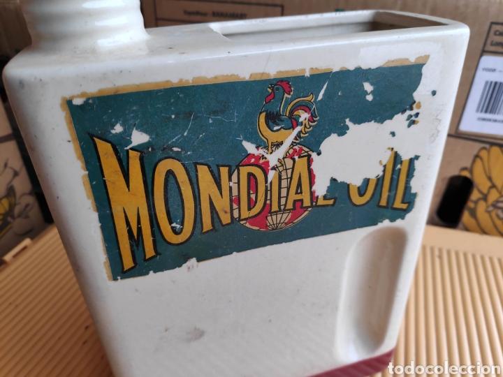 LATA CERAMICA ACEITE COCHE MONDIAL OIL 25 CM APROX (Coches y Motocicletas Antiguas y Clásicas - Catálogos, Publicidad y Libros de mecánica)