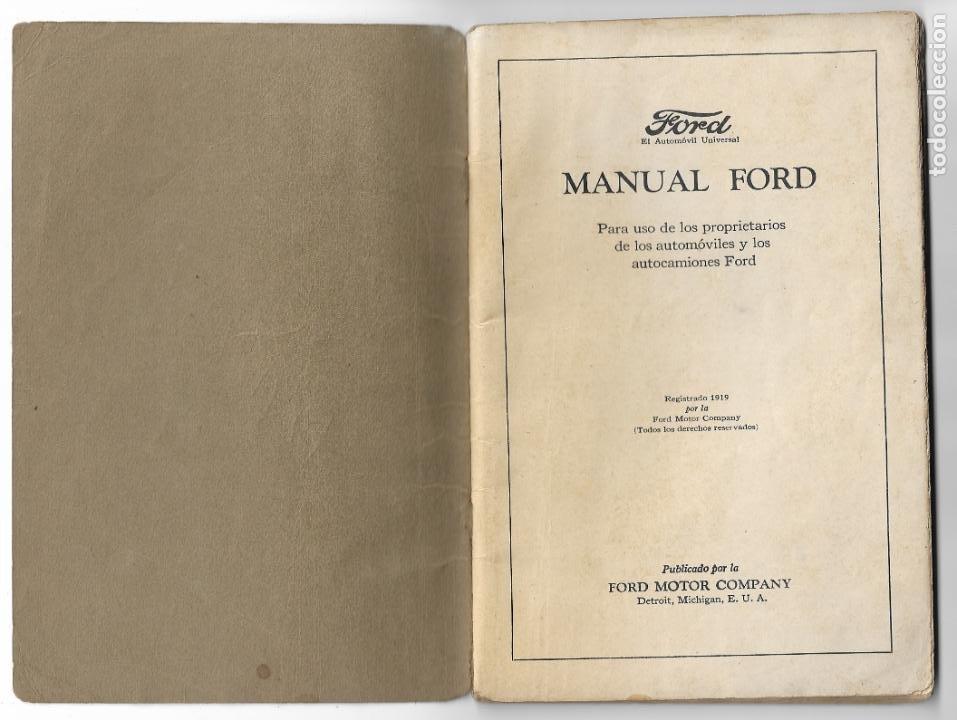 Coches y Motocicletas: MANUAL FORD - PARA USO DE LOS PROPIETARIOS DE LOS AUTOMÓVILES Y LOS AUTOCAMIONES - 1919 - Foto 2 - 198764107