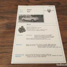 Voitures et Motocyclettes: FICHA TECNICA AUTOMOVIL - SEAT - MOD. 850 - DIPTICO CARTULINA - ED. CEAC. Lote 199811633