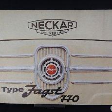 Coches y Motocicletas: CATÁLOGO NECKAR JAGST 770 DE 1963 EN HOLANDÉS N SEAT 600. Lote 200560451
