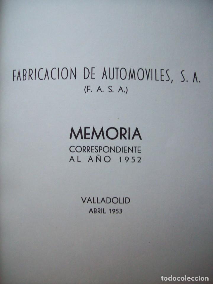 Coches y Motocicletas: PRIMERA MEMORIA FABRICACION AUTOMOVILES S.A. FASA VALLADOLID. 1953 - Foto 3 - 201144828