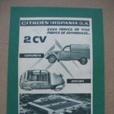 Coches y Motocicletas: CITROEN HISPANIA FURGONETA Y BERLINA 2 CV. ANUNCIO PUBLICITARIO DE REVISTA AÑO 1961. Lote 201675408