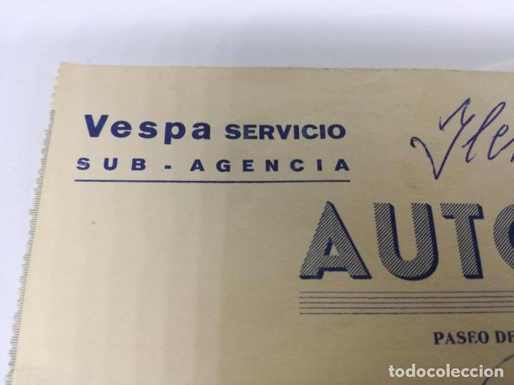 Coches y Motocicletas: ANTIGUA FACTURA SERVICIO VESPA. AUTO DIESEL.BARBASTRO HUESCA. - Foto 2 - 201792315