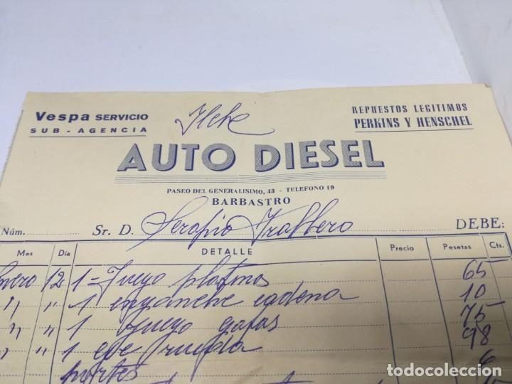 Coches y Motocicletas: ANTIGUA FACTURA SERVICIO VESPA. AUTO DIESEL.BARBASTRO HUESCA. - Foto 3 - 201792315