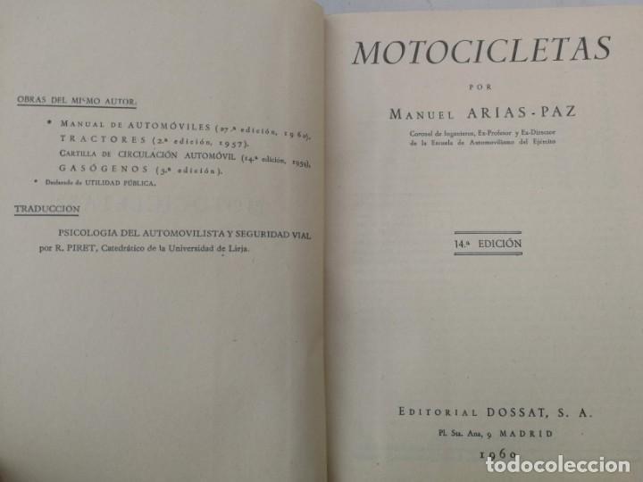 Coches y Motocicletas: ANTIGUO LIBRO DE MOTOCICLETAS - M. ARIAS PAZ - 1960 - EN BUEN ESTADO - 447 PAGINAS - 14ª EDICION - L - Foto 4 - 203072828