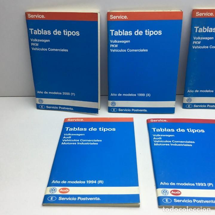 Coches y Motocicletas: LOTE 7 TABLAS DE TIPOS - VOLKSWAGEN - PKW - AUDI - SERVICIO POSTVENTA - MOTOR - Foto 2 - 204631671