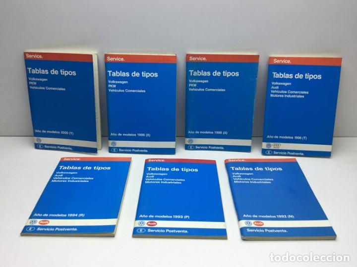 LOTE 7 TABLAS DE TIPOS - VOLKSWAGEN - PKW - AUDI - SERVICIO POSTVENTA - MOTOR (Coches y Motocicletas Antiguas y Clásicas - Catálogos, Publicidad y Libros de mecánica)