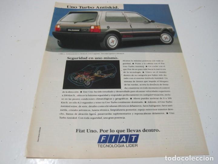 FIAT UNO TURBO I.E. ANTISKID. ANUNCIO PUBLICIDAD 1988 (Coches y Motocicletas Antiguas y Clásicas - Catálogos, Publicidad y Libros de mecánica)