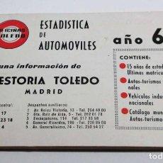 Coches y Motocicletas: ESTADÍSTICA DE AUTOMÓVILES AÑO 1967 (GESTORIA TOLEDO DE MADRID), CONTIENE…. Lote 206228887