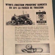 Coches y Motocicletas: PUBLICIDAD DE PRENSA DE ADITIVOS WYNN'S. ORIGINAL AÑO 1954. 14 X 35 CM. BUEN ESTADO.. Lote 206287847