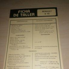 Coches y Motocicletas: FICHA DE TALLER RENAULT 8 TS + RENAULT ALPINE A-110/1.300. Lote 206568066