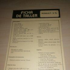 Coches y Motocicletas: FICHA DE TALLER RENAULT 5 TL + CITROËN CX PALAS. Lote 206568970