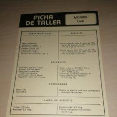 Coches y Motocicletas: FICHA DE TALLER MORRIS 1.100 + RENAULT 5 TS. Lote 206571437