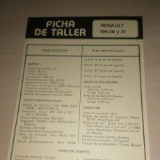 Coches y Motocicletas: FICHA TÉCNICA RENAULT 709-39 Y 31 + SAVA - JO - 4. Lote 206571691