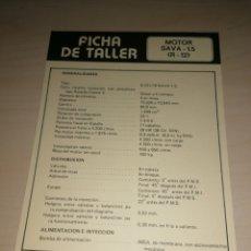 Coches y Motocicletas: FICHA DE TALLER MOTOR SAVA 1.5 + BARREIROS 42-17 A. Lote 206572596