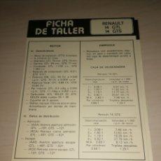 Coches y Motocicletas: FICHA DE TALLER RENAULT 14 GTL / 14 GTS + PEGASO TIPO 207. Lote 206572843
