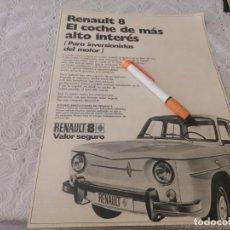Coches y Motocicletas: COCHE RENAULT 8 ANTIGUO ANUNCIO PUBLICIDAD REVISTA. Lote 206792348