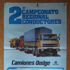 Coches y Motocicletas: CARTEL O POSTER 2º CAMPEONATO REGIONAL DE CONDUCTORES - CAMIONES DODGE - CHRYSLER ESPAÑA. Lote 207220633