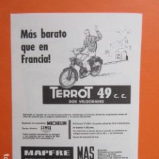 Coches y Motocicletas: PUBLICIDAD 1960 - TERROT 49 CC 2 VELOCIDADE MOTO VITORIA MAPFRE MICHELIN FEMSA - TAMAÑO 13 X 18.5 CM. Lote 207817662