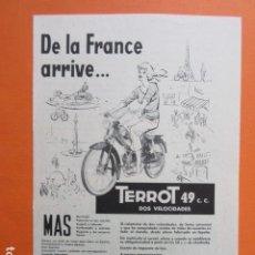 Coches y Motocicletas: PUBLICIDAD 1960 - TERROT 49 CC 2 VELOCIDADES MOTO VITORIA - TAMAÑO 13 X 18.5 CM. Lote 207817867