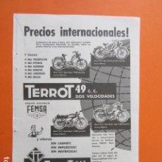 Coches y Motocicletas: PUBLICIDAD 1961 - TERROT 49 CC 2 VELOCIDADES MOTO VITORIA FEMSA MAPFRE - TAMAÑO 13 X 18.5 CM. Lote 207818405