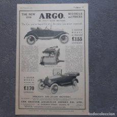 Coches y Motocicletas: AÑO 1915 / ARGO Y FIAT MOTORS LTD / ANUNCIO PUBLICITARIO PUBLICIDAD. Lote 207971055
