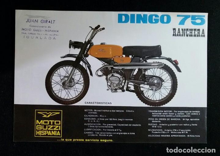 LAMINA PUBLICIDAD FOLLETO ORIGINAL MOTO GUZZI HISPANIA .DINGO 75.RANCHERA. (Coches y Motocicletas Antiguas y Clásicas - Catálogos, Publicidad y Libros de mecánica)