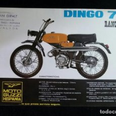 Coches y Motocicletas: LAMINA PUBLICIDAD FOLLETO ORIGINAL MOTO GUZZI HISPANIA .DINGO 75.RANCHERA.. Lote 209871003