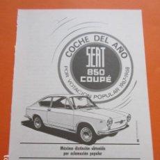 Coches y Motocicletas: PUBLICIDAD 1968 COLECCION COCHES - SEAT 850 COUPE - TAMAÑO 13 X 18.5 CM. Lote 209995047