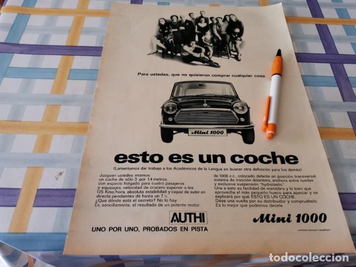 COCHE AUTHI MINI 1000 BONITO ANUNCIO PUBLICIDAD REVISTA 1969 (Coches y Motocicletas Antiguas y Clásicas - Catálogos, Publicidad y Libros de mecánica)