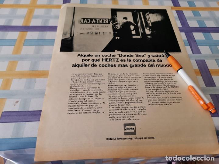 COCHES ALQUILER HERTZ ANUNCIO PUBLICIDAD REVISTA 1969 (Coches y Motocicletas Antiguas y Clásicas - Catálogos, Publicidad y Libros de mecánica)