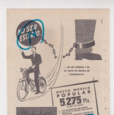 Carros e motociclos: PUBLICIDAD T 1958. ANUNCIO MOBYLETTE. MODELO POPULAR. GARATE ANITUA Y C. EIBAR (GUIPUZCOA). Lote 210248421