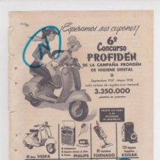 Carros e motociclos: PUBLICIDAD T 1958. ANUNCIO 6º CONCUSO PROFIDEN - MOTO VESPA. Lote 210250368
