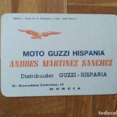 Automobili e Motociclette: TARJETA PUBLICIDAD MOTO GUZZI HISPANIA. ANDRES MARTINEZ SANCHEZ. MURCIA. VER FOTO ADICIONAL. Lote 210275533