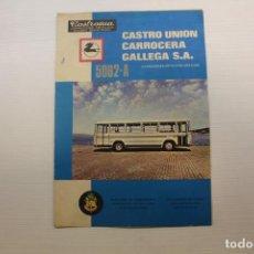 Coches y Motocicletas: PEGASO, DÍPTICO PUBLICITARIO, AUTOCAR 5062 A, CASTRO UNIÓN CARROCERA GALLEGA SA. Lote 210562048
