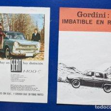 Coches y Motocicletas: 2 ANUNCIOS DE COCHE GORDINI Y SEAT 1400, DEL AÑO 1963. VELL I BELL. Lote 210592995