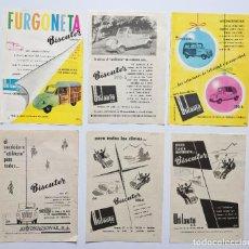Coches y Motocicletas: 6 ANUNCIOS DE COCHE Y FURGONETA BISCUTER, DEL AÑO 1953 Y 1957. VELL I BELL. Lote 210593422