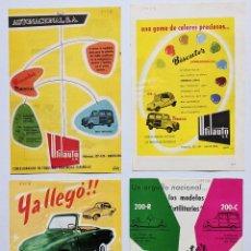 Coches y Motocicletas: 4 ANUNCIOS DE COCHE Y FURGONETA BISCUTER, DEL AÑO 1958. VELL I BELL. Lote 210593660