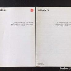 Coches y Motocicletas: LOTE 2 CATÁLOGOS CARACTERÍSTICAS TÉCNICAS ORIGINALES CITROEN C5 Y C3. Lote 210832237