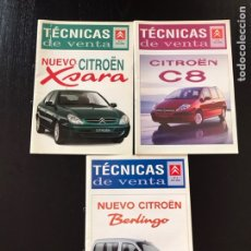 Coches y Motocicletas: LOTE 3 CATÁLOGOS ORIGINALES CITROEN TECNICAS DE VENTA XSARA, C8, BERLINGO. ARGUMENTARIO VENDEDORES. Lote 210832965