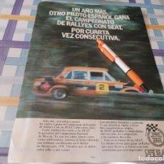 Coches y Motocicletas: COCHE SEAT CAMPEONATO RALLYE ANUNCIO PUBLICIDAD REVISTA 1976. Lote 211417157