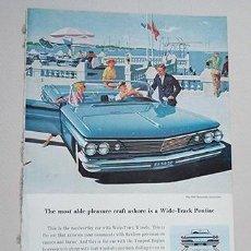 Coches y Motocicletas: 1960 PONTIAC BONNEVILLE CONVERTIBLE. GENERAL MOTORS. RECORTE PUBLICIDAD. Lote 211513464