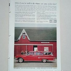 Coches y Motocicletas: 1960 CHEVROLET KINGSWOOD STATION WAGON. GENERAL MOTORS. RECORTE PUBLICIDAD. Lote 211514136
