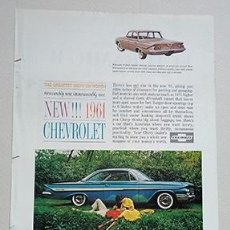 Coches y Motocicletas: 1961 CHEVROLET IMPALA SPORT COUPE. GENERAL MOTORS. RECORTE PUBLICIDAD. Lote 211514216